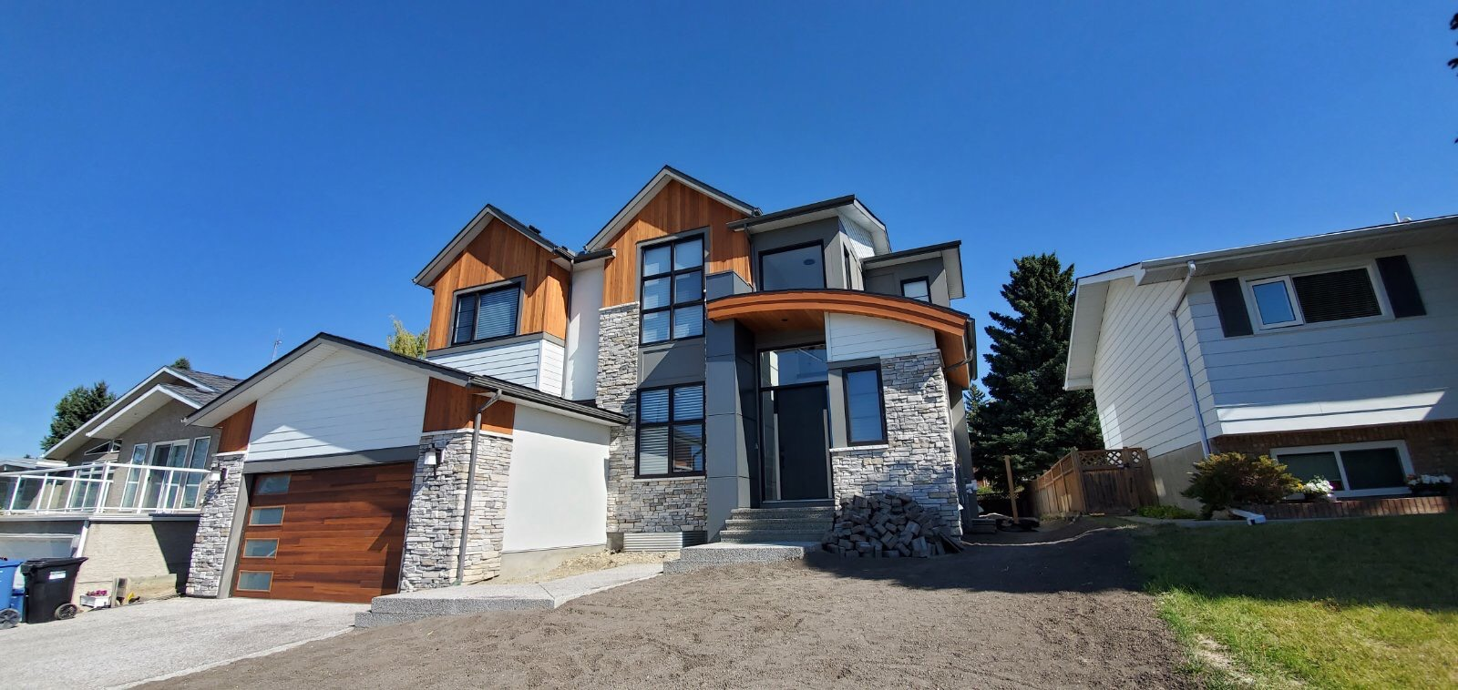 Siding installation for a private house project in Calgary