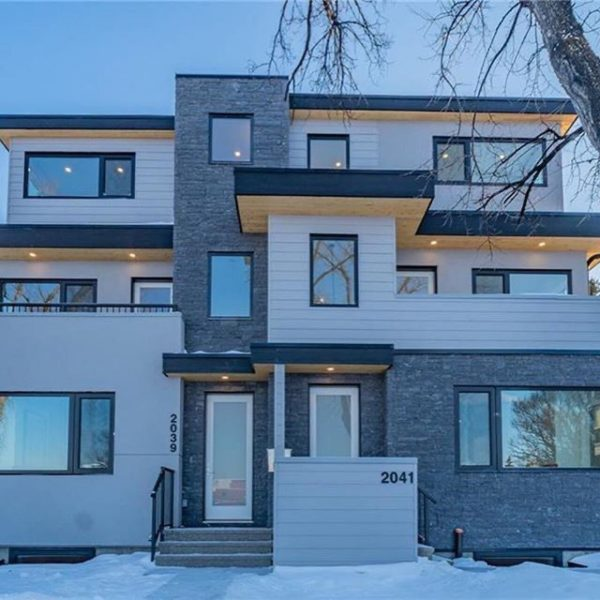 Modern siding installation in Calgary for a townhome